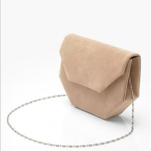 Handbags - Nude Suede Cross Body Bag